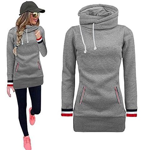 DAYLIN 1PC Women Long Sleeve Blouse Sweater Causal Sweatshirt Pullovers Tops (M, Gray)
