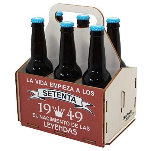 Portacervezas de madera, paquete de seis cervezas, caja portadora de seis, portacervezas de seis, regalo cerveza, cumpleaños 70 años, regalo 70 años, de madera, 70 cumpleaños, cumpleaños hombre, 1949