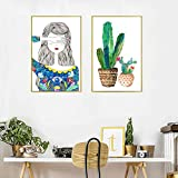 YDGG Colorful Plant Cactus Girl Canvas Painting Art Print Poster Picture Wall Home Decor-50x70cmx2 pcs no frame