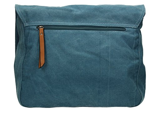 SwankySwans - Milan Star Canvas School Messenger, Borsa a tracolla Donna Blu (Blu (Denim))
