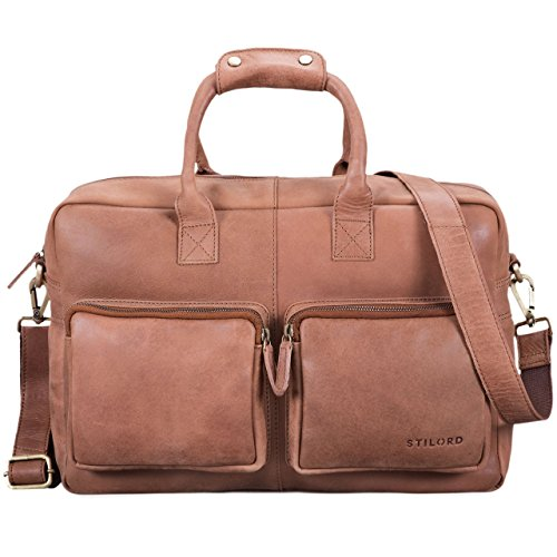 Stilord 'henri' borsa ufficio lavoro in pelle cartella uomo donna con tracolla porta documenti e pc 15.6 pollici grande in cuoio, colore:sella - marrone