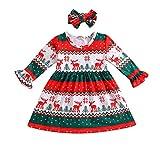 JiaMeng Weihnachten Xmas Kleinkind Kinder Baby Mädchen Hirsch Streifen Prinzessin Party Kleid Kleidung Outfit [Weihnachten Geschenk Weihnachtskostüm]