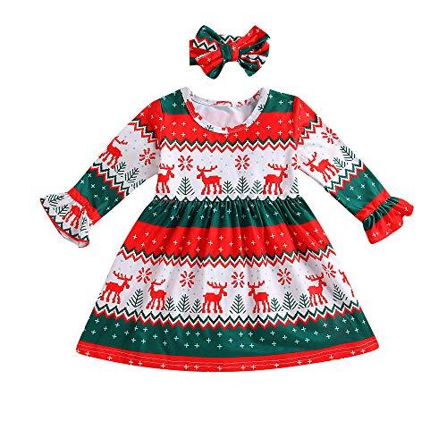 sunnymi 0-3 Jahre Baby Mädchen Kleid Weihnachten Hirsch Streifen Prinzessin Party Kleid Kleidung Outfit