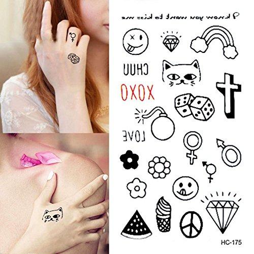 etiquetas-engomadas-del-tatuaje-pegatina-de-la-historieta-etiquetas-engomadas-sonrientes-del-tatuaje