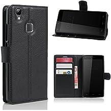 avidet DOOGEE X5Max Pro móvil–Alta calidad PU Funda de piel estilo libro with Kickstand Card Holder Para DOOGEE X5Max Pro negro negro
