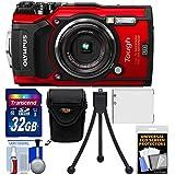 Olympus Tough TG-5 4K Wi-Fi GPS Shock & Waterproof Digital Camera (Red) with 32GB Card + Case +Battery + Flex Tripod + Kit