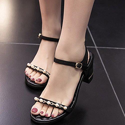 Oasap Women's Peep Toe Block Heels Ankle Strap Pearls Sandals Black