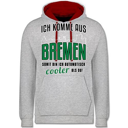Städte - Ich komme aus Bremen - Kontrast Hoodie Grau Meliert/Rot