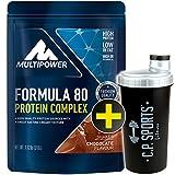 C.P. Sports Eiweiss Shaker gratis Multipower Formula 80 Protein Complex 510gr./Mehrkomponentenprotein/Eiweiß/Casein/Isolat/Proteinkonzentrat (Schokolade)