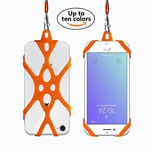 Handy Das Für Fällen Sechs Iphone (Handy Lanyard Rocontrip Strap Fall Halter mit abnehmbaren Neckstrap Universal für Smartphone iPhone X 8,7 6 s iPhone 6 s Plus, Huawei Samsung Galaxy Google Pixel 4,7-5,5 Zoll (Orange))