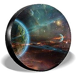 ulxjll Spare Tire Wheel Cover Weltraum Planet Erde Mars Meteorit Komet Asteroid Reserveradabdeckung Regenfest Für Wohnmobil Wohnmobil SUV Zubehör Verschiedene Fahrzeuge 80~83cm