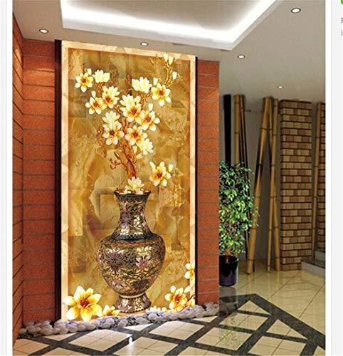 Tapeten Benutzerdefinierte 3D Fototapete Orchideenvase Farbe Schnitzen Eingang 3D Wandbilder Wallpaper Home Decoration