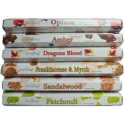 Stamford Premium Hex S TOUCH - Opio, ámbar, Dragons Blood, Olíbano y mirra, madera de sándalo y pachuli 20 varillas en cada fragancia (varillas de 120)
