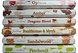 Stamford Premium Hex Range Incense Sticks - Opium, Amber, Dragons Blood, Frankincense & Myrrh, Sandalwood & Patchouli 20 sticks per fragrance (120 sticks)