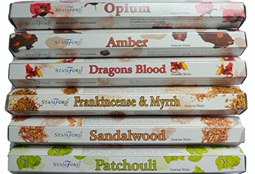 Stamford-Premium-Hex-Range-Incense-Sticks-Opium-Amber-Dragons-Blood-Frankincense-Myrrh-Sandalwood-Patchouli-20-sticks-per-fragrance-120-sticks