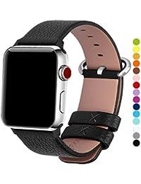 15 Farben für Apple Watch Armband 42mm, Fullmosa® Uhrenarmband Litschi Textur Hauptschicht Rindsleder Lederarmband mit Edelstahlschließe für Apple Watch Series 1 Series 2 Series 3 ,Schwarz
