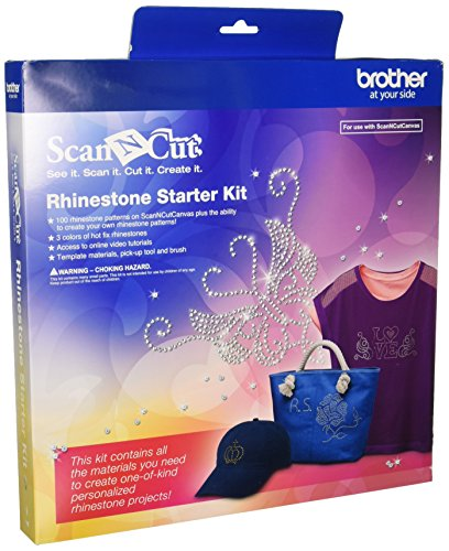 Brother CARSKIT1 Strass-Stein-Starter-Set, 100 Strass-Muster, ScanNCut Leinwand, 4 Arten von Hot Fix Strass, Zugang zu Online-Video-Tutorials, Pick-Up-Werkzeug und Pinsel