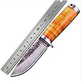 Ideaselection Gürtel Messer, Jagdmesser, überleben mit messer, Klinge aus Vollmetall High Carbon corrugated steel 5mm Gürtel-scheide Bogensport, Leder scheide