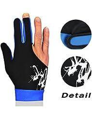 eNice guanti snooker biliardo guanti, guanti in lycra elastica 3dita Show guanti da indossare alla mano destra o sinistra per uomo o donna, Uomo, Blue, L