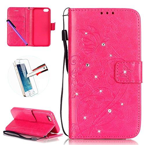 iPhone 55S se étui portefeuille en cuir pour livre, newstars Design léger PU en relief Touch Téléphone Mobile Housses Protège la peau étui en cuir pour iPhone 5/5S/5C/SE avec béquille carte fentes P Diamond Rose Red