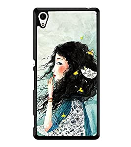 Fuson Premium 2D Back Case Cover Cute hairy girl With Purple Background Degined For Sony Xperia Z4::Sony Xperia Z4 E6553