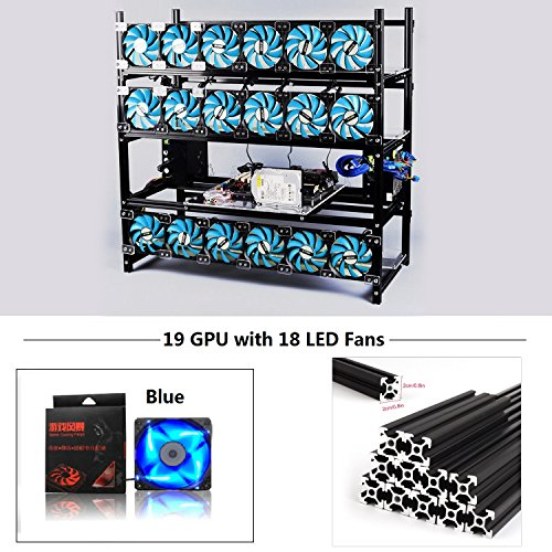 19 GPU Mining Rig Aluminum Stackable Case With 18 LED Fans Open Air Frame Miner Kit For ETH//ZEC//Bitcoin//Decred//Z Cash Silver-BF