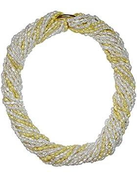10 Stück Biwa natur gewachsene Süßwasser Perlen Ketten = 1 Collier je einzelne Kette ca. 90 cm 7x rohweiß und...