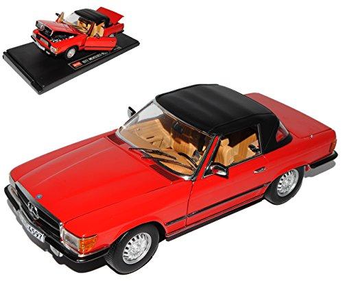 Preisvergleich Produktbild Mercedes-Benz 350SL R107 Cabrio Rot mit Soft Top Dach 1971-1989 1/18 Sun Star Modell Auto mit individiuellem Wunschkennzeichen