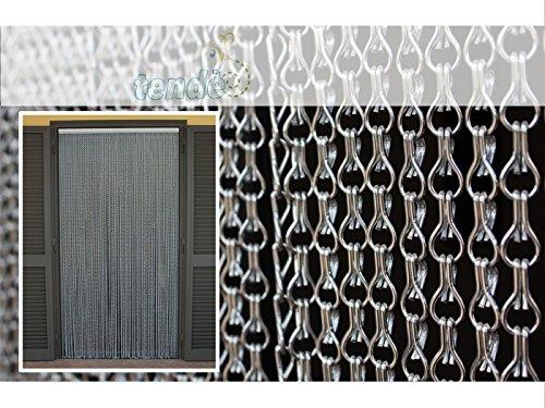 Cirillo Tende Aluminium Moskitonetz Türvorhänge - Türvorhang Modell Catena Fliegenvorhang - Kunststoff - Vorhänge - Made in Italy - Suche (100X220, Argento)