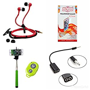 KONARRK 4 in 1 Combo of Selfie Stick Green, Zipper Earphones Red, Handsfree Splitter Black and Tempered Glass for INTEX STARE4G+