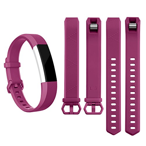 AK Band Replacement Wristband Strap with Secure Metal Buckle for Fitbit Alta/Fitbit Alta HR, Plum, Small