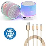 #6: Captcha Colorful LED Light Crack Pattern Mini Stereo Portable Wireless Bluetooth Speaker with Universal high-quality 3 in 1 Fiber Cable