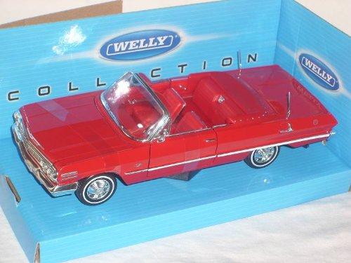 chevrolet-chevy-impala-rot-1963-cabrio-1-24-welly-modellauto-modell-auto