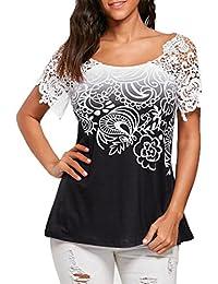 Traumzimmer Damen T-Shirt Damen BeiläUfig Spitze NäHen Blumen Gedruckt  Trimmen T-Shirt Oberteile Bluse Oben Sexy Schulter ÄRmel Seite… b73e06fe80