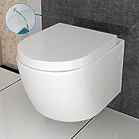 Dusch-WC / Hänge-WC mit Bidet/Taharet-Funktion aus Sanitärkeramik mit Duroplast-WC-Sitz inkl. Soft-Close-Funktion passend zu GEBERIT