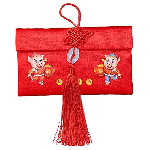 ,Einladung Rot,WINTHAI 2019 Chinesisches Schwein Neues Jahr Frühlingsfest Tuch Rote Umschläge Hong Bao Glückspakete mit Jade-Anhänger Quaste Horizontal ()