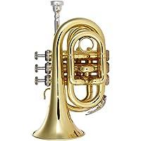 ammoon Mini Trompeta de Bolsillo Latón Plano bb Instrumento de Viento con Guantes de Boquilla Paño de Limpieza Estuche de Transporte