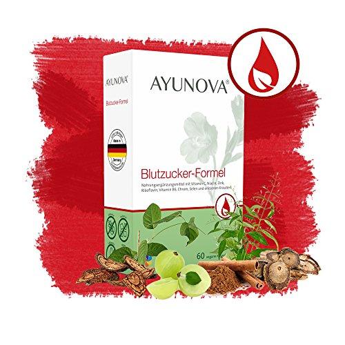 AYUNOVA Blutzucker -Formel - 60 vegane Kapseln mit der einzigartigen Kombination aus bewährten Pflanzen, essentiellen Vitaminen und Mineralstoffen - Ihr täglicher Beitrag für einen gesunden Blutzuckerspiegel