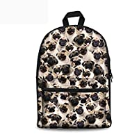 Coloranimal Cute Dog Child School Canvas Backpacks Girls Bookbags