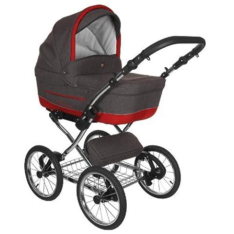 Classico Turran - Klassischer Kinderwagen im Retro Design - luxus Kombi Kinderwagen 3 in 1 (Kinderwagen + Sportwagen + Adapter für MaxiCosi Autositz) und viel Zubehör