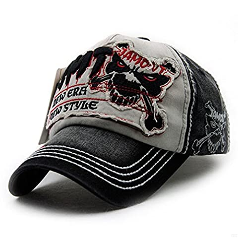 GADIEMKENSD Pure cotton Personality Vintage Embroidered Snapback Baseball Cap Patch Visor Trucker Hat Many Different Style (Tiger Black·Gray)