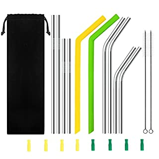 AUTOPkio Set of 10 Straws for Tumblers Cups Mugs, Metal Stainless Steel/Silicone Drinking Straw Cleaning Brush Included for Yeti, RTIC, Tervis, Ozark Trail, Starbucks, Mason Jar