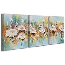 100% LABOR A MANO + certificado / 135x60 cm / Amapolas blancas / El cuadro dibujado con pinturas acrílicas / cuadros sobre el lienzo con bastidor de madera / cuadro dibujado a mano / montaje cómodo sobre la pared / Arte contemporáneo