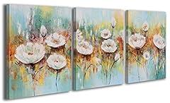 Idea Regalo - 100% HANDMADE + Certificato | 135x60 cm | Quadro dipinto con colori acrilici | Papaveri bianchi | dipinti su tela con lettiga in legno | artigianali | Comodo fissaggio alla parete | Arte Contemporanea