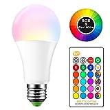 Tioodre 15 W RGBW E27 Ampoules LED à changement de couleur avec télécommande,6000...