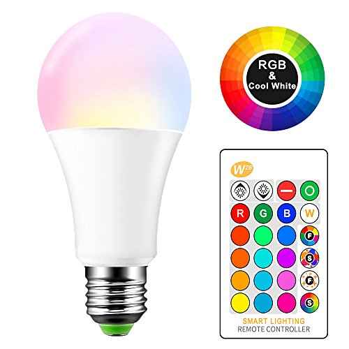 TiooDre 15W RGBW E27 LED Farbwechsel Lampe mit Fernbedienung, A65-6000K Bajonett Dimmbar Farbe der Lampen mit Timing, Speicher & Sync, Multi-Farbe RGB + Weiß Tageslicht (1 Stück) [Energieklasse A+] -