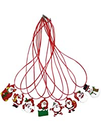 Rokoo 12Pcs / set niños Toy LED collares niños niños niña regalos luminosos muñeco de nieve árbol de Navidad Santa Claus collar al azar Co