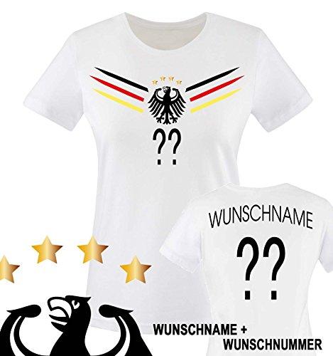 Comedy Shirts - Deutschland WM 2014 - Wunsch - Damen T-Shirt - Weiss/Schwarz-Rot-Gelb Gr. M
