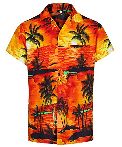 Redstar Fancy Dress - Herren Hawaiihemd - kurzärmelig - Aloha Summer - Verkleidung Junggesellenabschied - alle Größen - Orange - M