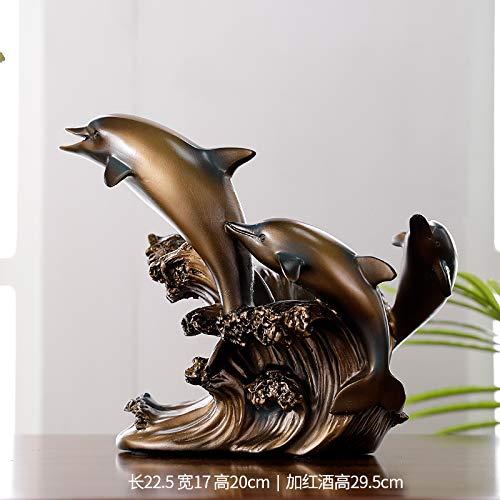 WDDqzf Dekoration Statuen Weinregal Delphin Dekoration Hause Kreative Wohnzimmer Weinschrank Fenster Veranda Dekoration Europäischen Harz Handwerk Dekoration, Kupfer